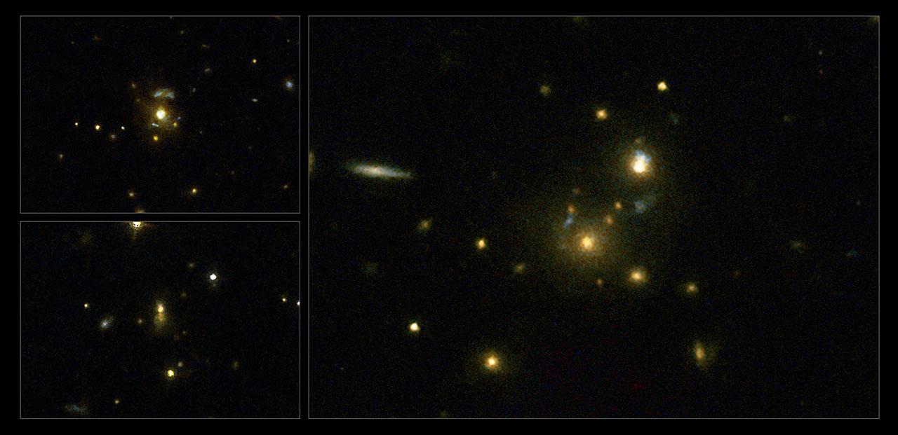Эти галактики испускают очень мощные выбросы в радиодиапазоне, это означает, что из сверхмасивных черных дыр вырываются огромные потоки плазмы. Слева (сверху вниз) галактики 3C 297 и 3C 454.1, справа 3C 356.