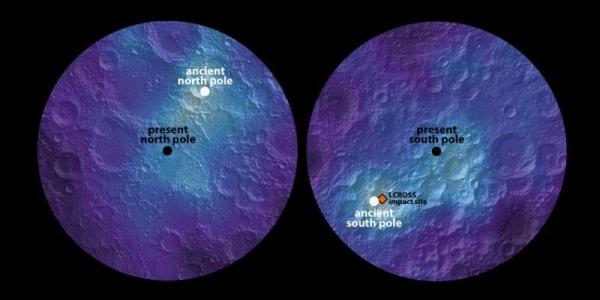 Северный и южный полюса Луны в прошлом и настоящем