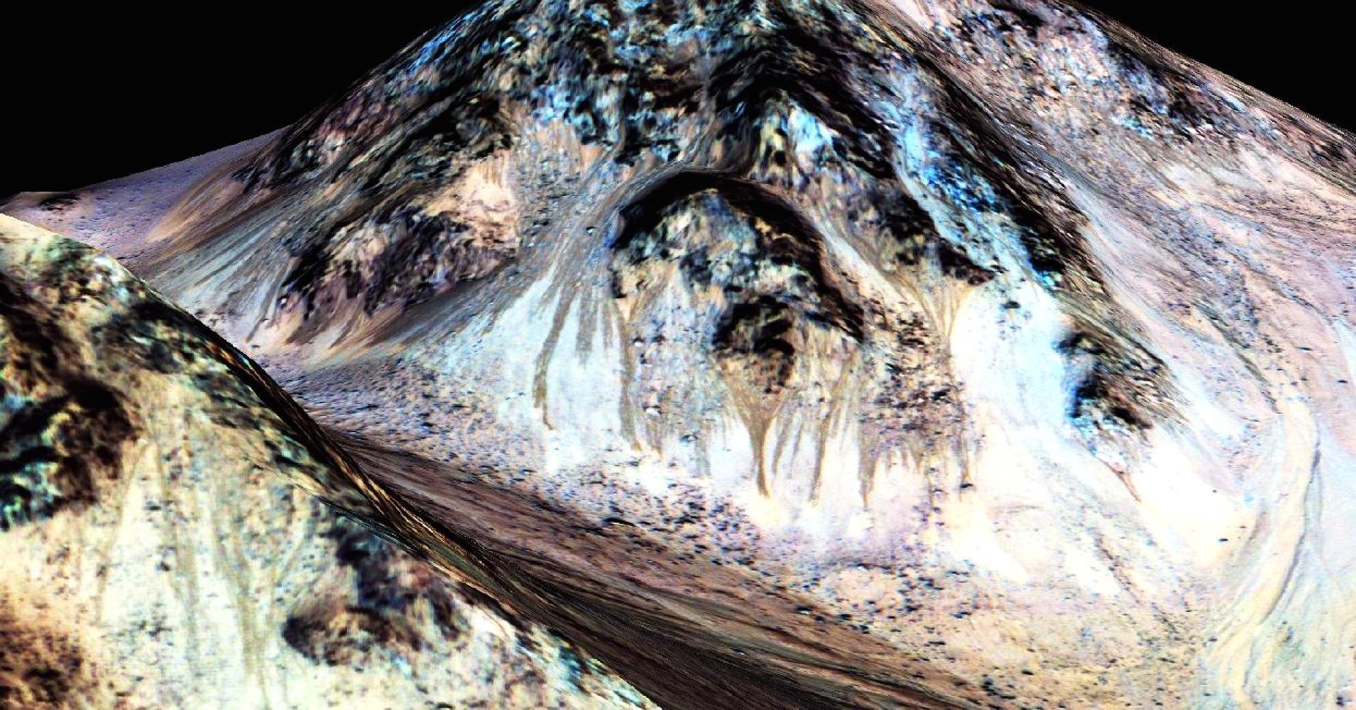 Ученые несмогли отыскать следов жидкой воды в«соленых ручьях» Марса