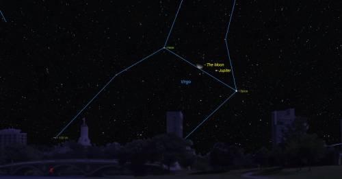 Луна встречается с Юпитером и Яркая предрассветная звезда