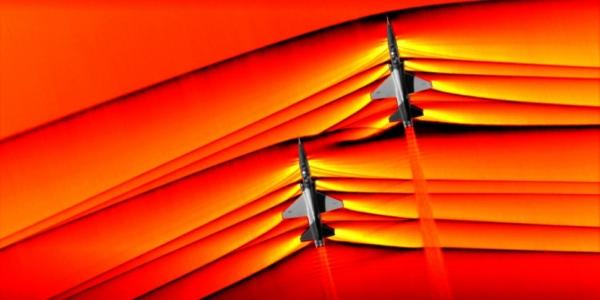 Первые фотографии сливающихся сверхзвуковых волн