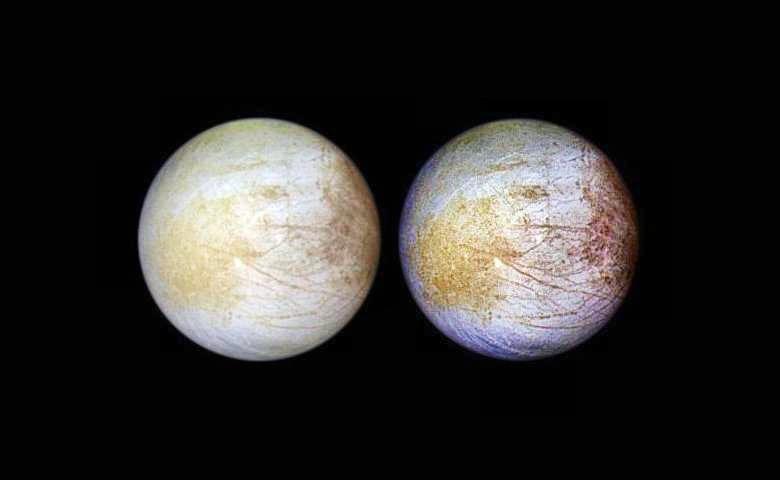 Спутник Юпитера Европа имеет на поверхности поваренную соль