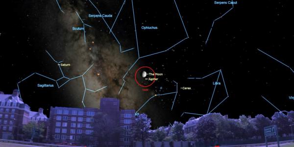 В эту пятницу можно увидеть Луну рядом с Юпитером