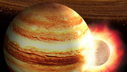 Массивный планетарный эмбрион мог поразить Юпитер 4,5 миллиарда лет назад