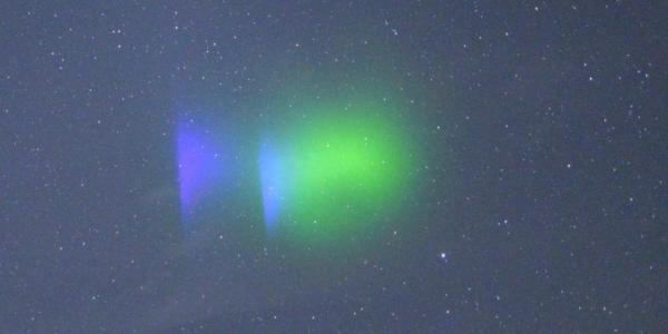 Миссия NASA осветила небо фиолетовым и зеленым светом