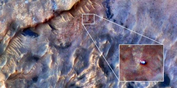 Камера на борту аппарата НАСА «Марс» обнаружила марсоход Curiosity 31 мая 2019 года.