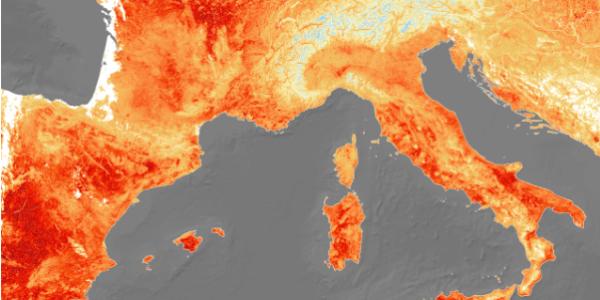 Спутники зафиксировали тепловую волну в Европе