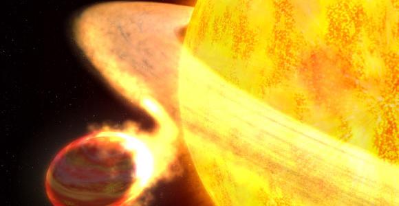 Горячий Юпитер WASP-12b приближается к своей звезде